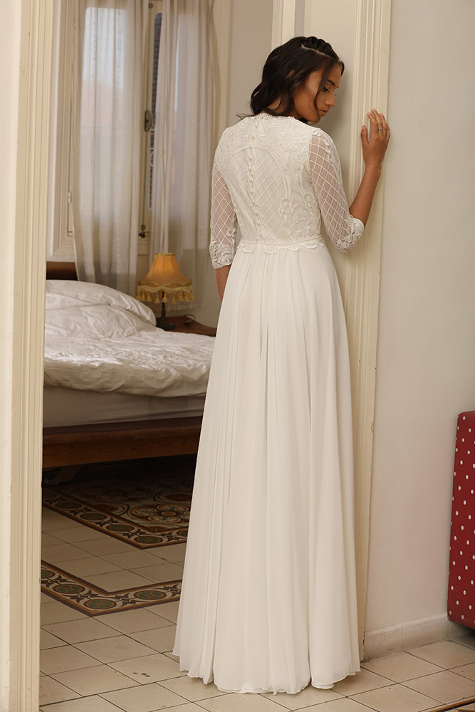 Virra by sudio levana modest wedding dress with pearls and sequined lace top