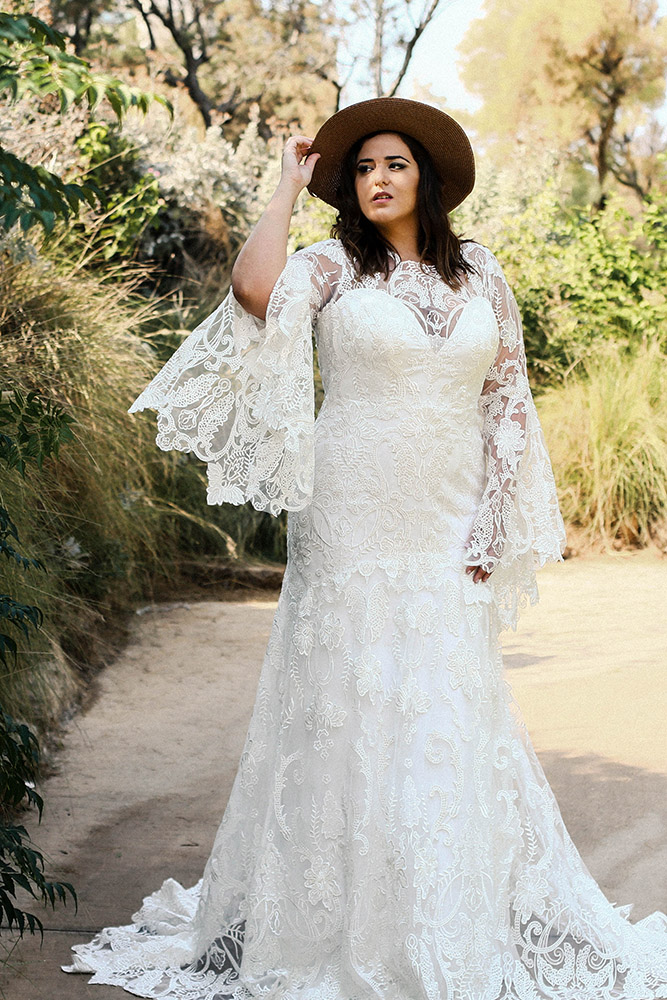Alexis by studio levana boho chic marmeid plus size wedding dress with bell lace sleeves