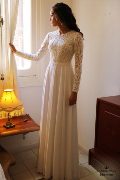 שמלות כלה צנועות Shennon (1)